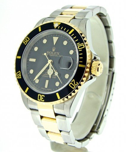 Rolex Two-Tone Submariner 16613T Black -7