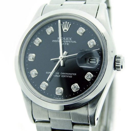 Rolex Stainless Steel Date 1500 Black Diamond-1