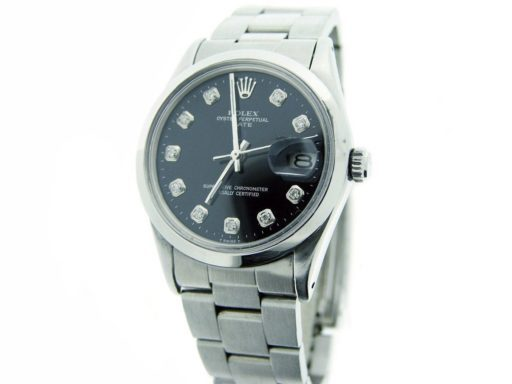 Rolex Stainless Steel Date 1500 Black Diamond-3