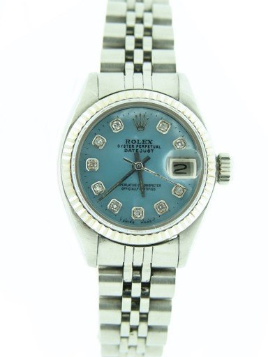 Rolex Stainless Steel Datejust 6917 Blue MOP Diamond-5
