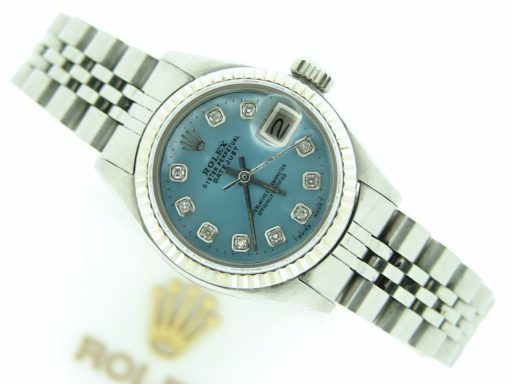 Rolex Stainless Steel Datejust 6917 Blue MOP Diamond-4