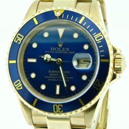 Mens Rolex 18K Yellow Gold Submariner Blue  16618 (SKU N301320NNMT)