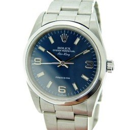 Mens Rolex Stainless Steel Air-King Blue Arabic 14000