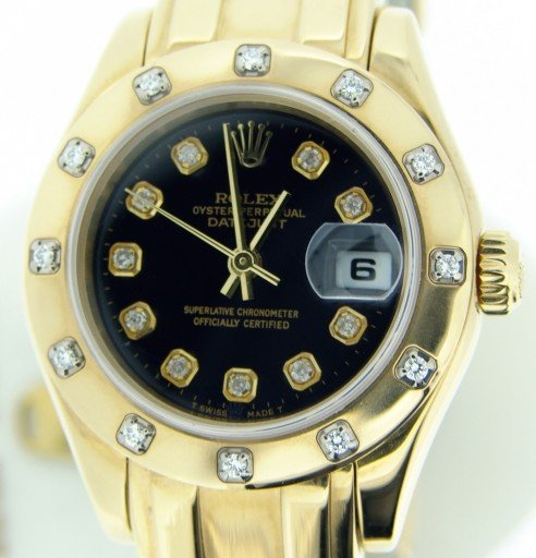 Rolex Yellow Gold Datejust Pearlmaster Diamond 80318 Black-1