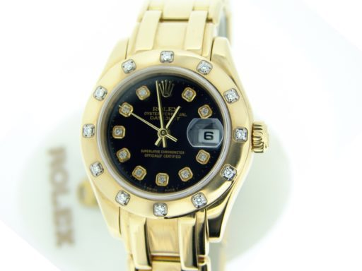 Rolex Yellow Gold Datejust Pearlmaster Diamond 80318 Black-5