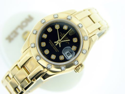 Rolex Yellow Gold Datejust Pearlmaster Diamond 80318 Black-4