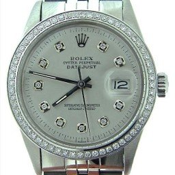 Mens Rolex Stainless Steel Datejust Silver Diamond (SKU 8200199MT)