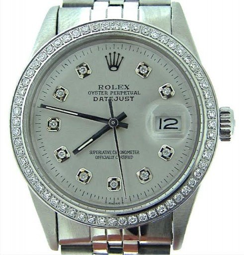 Rolex Stainless Steel Datejust 16030 Silver Diamond-1