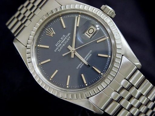 Rolex Stainless Steel Datejust 1603 Blue -4