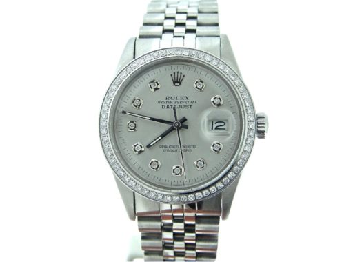 Rolex Stainless Steel Datejust 16030 Silver Diamond-6