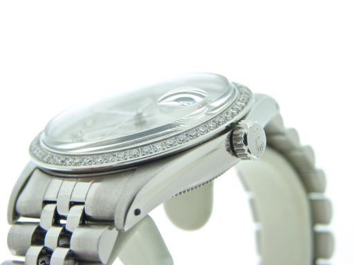 Rolex Stainless Steel Datejust 16030 Silver Diamond-4