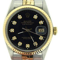 Mens Rolex Two-Tone 18K/SS Datejust Black Diamond 16013 (SKU 5354075MNNMT)