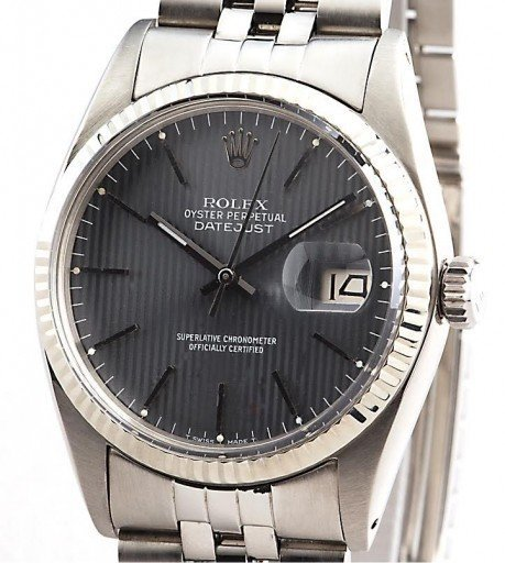 Rolex Stainless Steel Datejust 16014 Gray, Slate -1