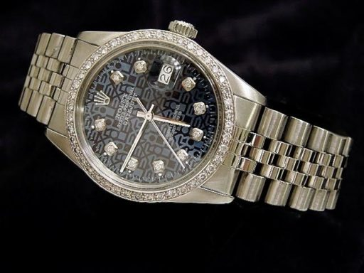 Rolex Stainless Steel Datejust 16030 Blue Diamond-5