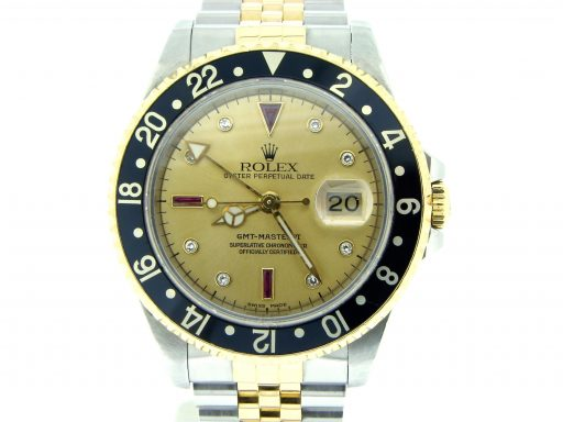 Rolex Two-Tone GMT Master II 16713 Gold Serti Diamond-5