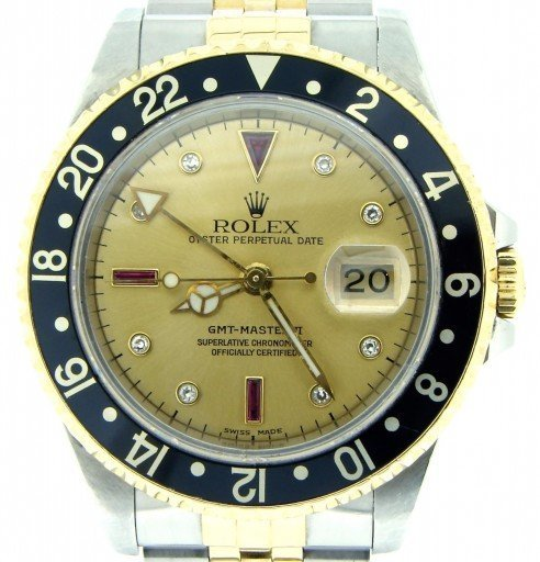 Rolex Two-Tone GMT Master II 16713 Gold Serti Diamond-1