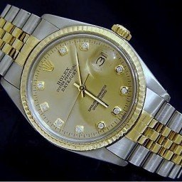 Mens Rolex Two-Tone 18K/SS Datejust Champagne Diamond 16013 (SKU 5691889BNNMT)