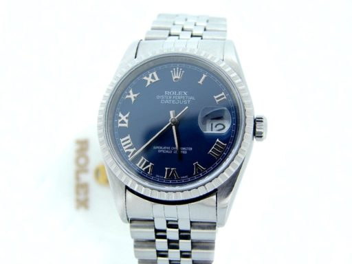 Rolex Stainless Steel Datejust 16220 Blue Roman-5