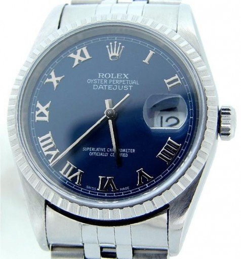 Rolex Stainless Steel Datejust 16220 Blue Roman-1