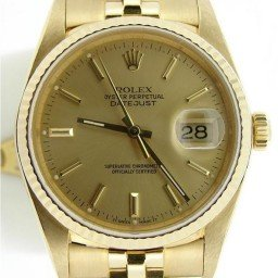 Pre Owned Mens Rolex Yellow Gold Datejust with a Gold Champagne Dial 16238 (SKU DJ8822M)