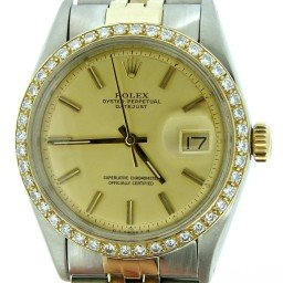 Mens Rolex Two-Tone 14K/SS Datejust Diamond Champagne  1601 (SKU 3389825BCMT)