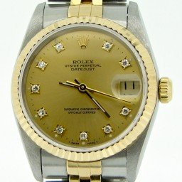 Mid Size Rolex Two-Tone 18K/SS Datejust Champagne Diamond 68273 (SKU S576375MT)