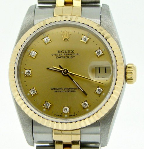 Rolex Two-Tone Datejust 68273 Champagne Diamond-1