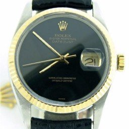 Mens Rolex Two-Tone 18K/SS Datejust Black  16013 (SKU DJ9182MT)