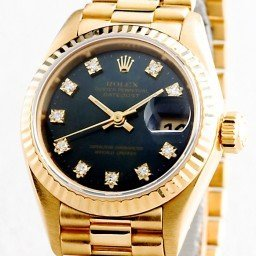 Ladies Rolex 18K Yellow Gold Datejust President Black Diamond 69178 (SKU 69178BLKMT)