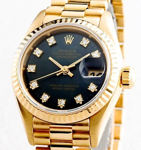Rolex Yellow Gold Datejust President Diamond 69178 Black-1