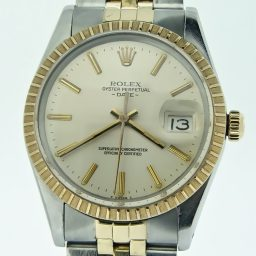 Pre Owned Mens Rolex Two-Tone Date with a Silver Dial 15053