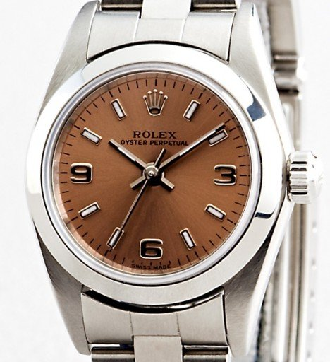 Rolex Stainless Steel Oyster Perpetual 76080 Salmon Arabic-1