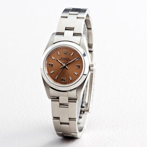 Rolex Stainless Steel Oyster Perpetual 76080 Salmon Arabic-6