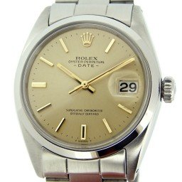 Mens Rolex Stainless Steel Date Champagne  1500