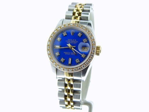 Rolex Two-Tone Datejust 69173 Blue Diamond-6