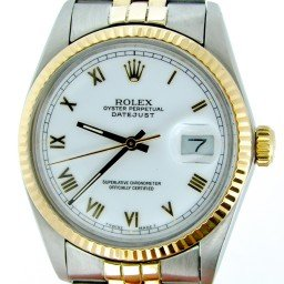 Mens Rolex Two-Tone 18K/SS Datejust White Roman 16013 (SKU 9368194MT)