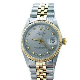 Pre Owned Mens Rolex Two-Tone Date with a Slate Dial 1505 (SKU 1505SVRM)