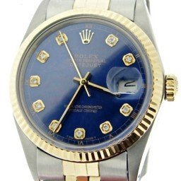 Mens Rolex Two-Tone 18K/SS Datejust Blue Diamond 16013 (SKU 16013bluediaBNNMT)