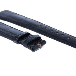 GENUINE ROLEX BLACK LEATHER CROCODILE STRAP BAND (SKU BLCR56)