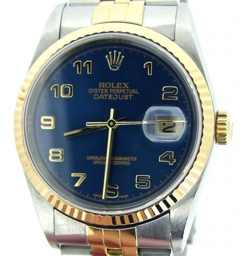 Rolex Two-Tone Datejust 16233 Blue Arabic-1