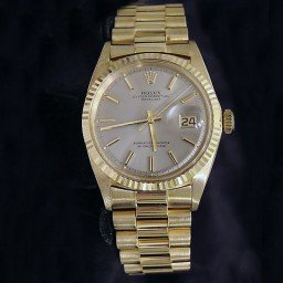 Pre Owned Mens Rolex Yellow Gold Datejust with a Slate Dial 1601