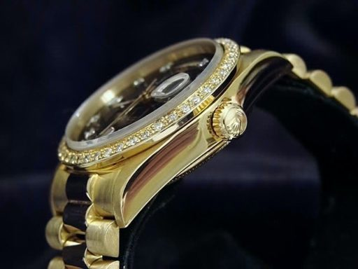 Rolex 18K Yellow Gold Day-Date President 18038 Black Diamond-3