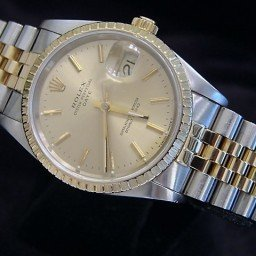 Mens Rolex Two-Tone 18K/SS Date Champagne  15223