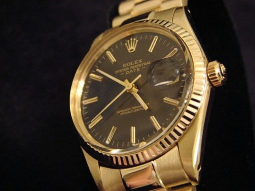 Rolex 14K Yellow Gold Date 15037 Black -4