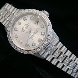 Ladies Rolex 18K White Gold Datejust President Full Diamond Silver  6917 (SKU 2938265MT)