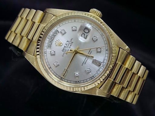 Rolex 18K Yellow Gold Day-Date President 18038 Silver Diamond-5