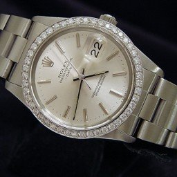 Mens Rolex Stainless Steel Date Silver  Diamond 15000