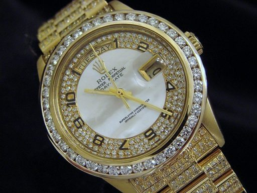 Rolex 18K Yellow Gold Day-Date President 18038 Full Diamond-6