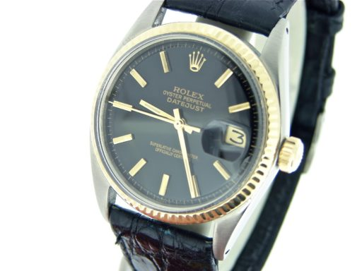 Rolex Two-Tone Datejust 1601 Black -7