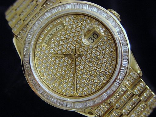 Rolex 18K Yellow Gold Day-Date President 18038 Full Diamond-1